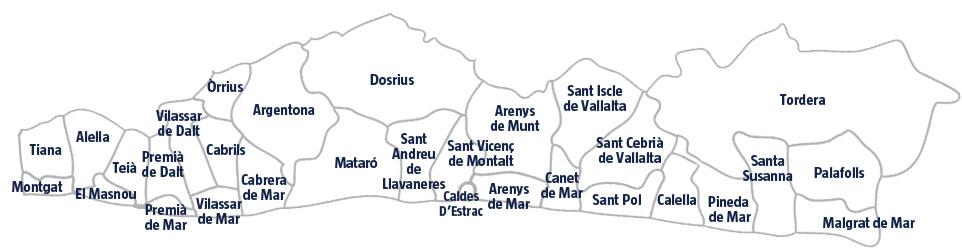 Mapa de les poblacions del Maresme